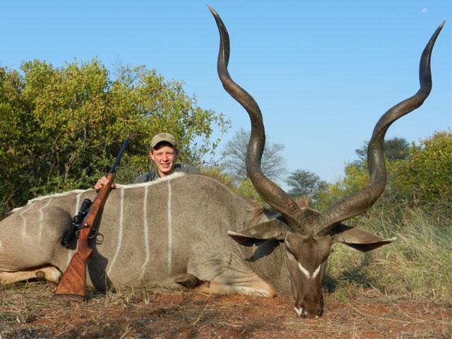 Kudu, 458 Win Mag, 300 gr BushMaster, 87 yards, broadside shot.