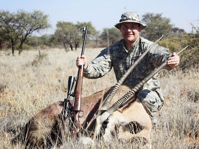 Oryx, 375H&H, 350 gr BushMaster, 60 yards, frontal head shot.