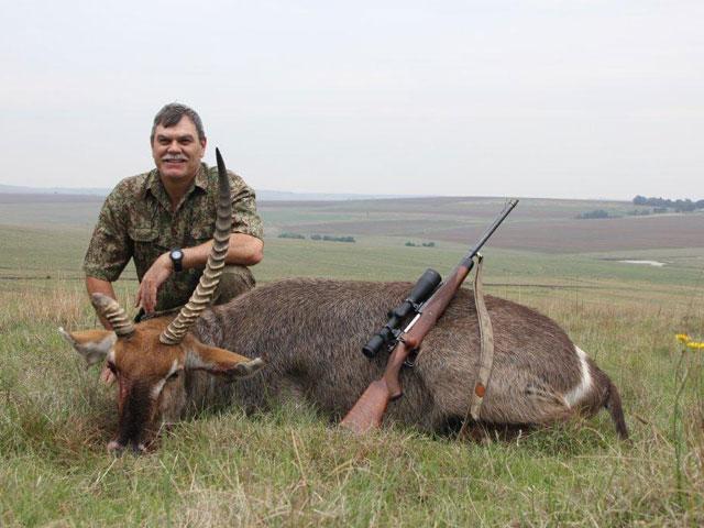 Waterbuck, 375 H&H, 300 gr BushMaster bullet, 142 yards, quartering away.